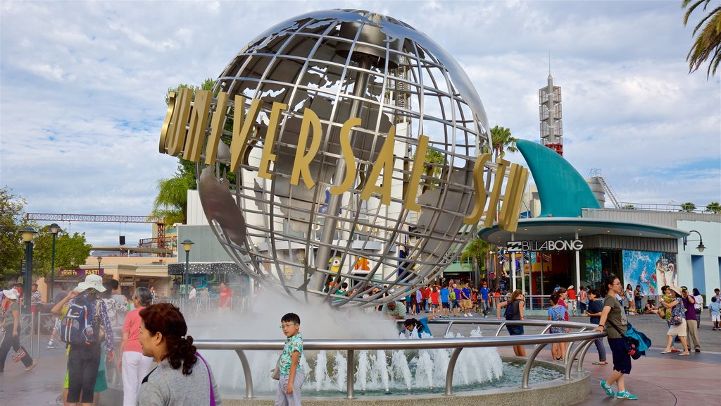 Universal CityWalk which includes rides, signage and a fountain