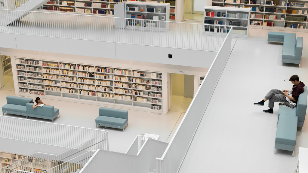 Public Library Stuttgart featuring interior views as well as an individual male