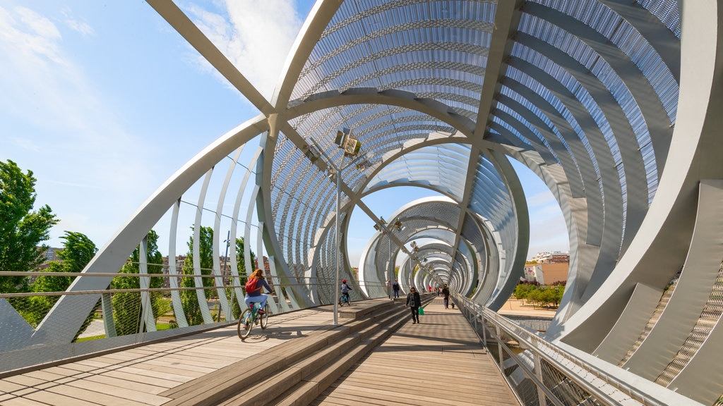 Puente Monumental Parque de Arganzuela which includes a bridge, modern architecture and cycling