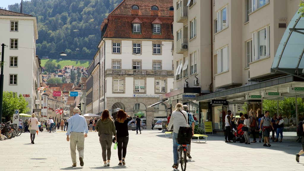 Chur featuring street scenes as well as a small group of people