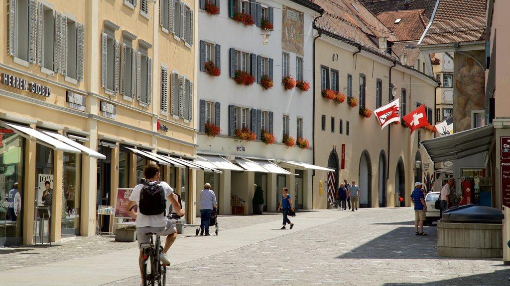 Chur featuring street scenes
