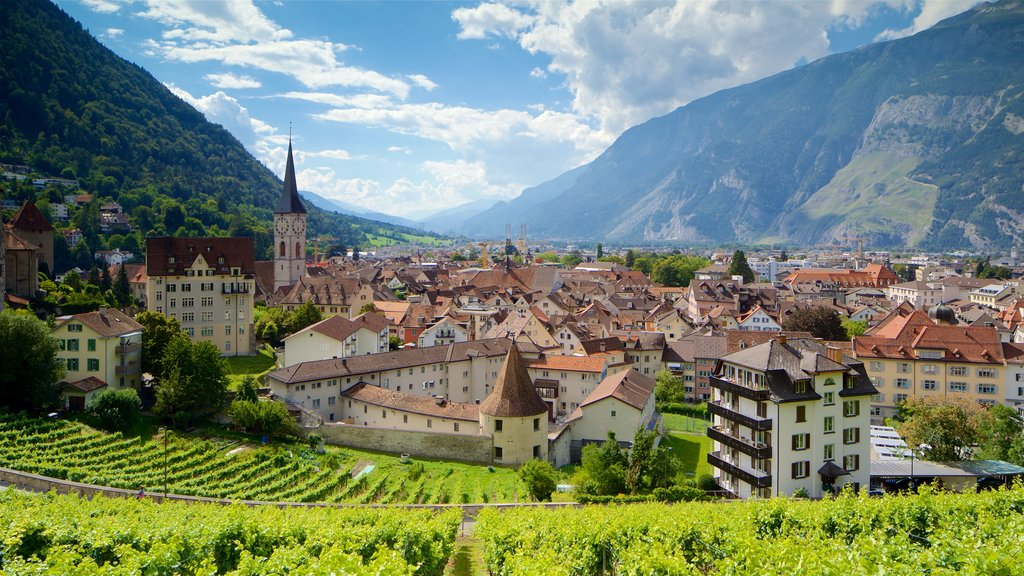 Chur showing a small town or village and landscape views