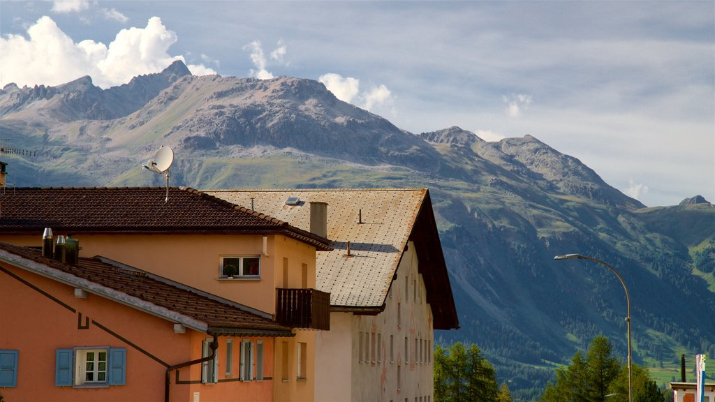 Pontresina featuring landscape views, a small town or village and mountains