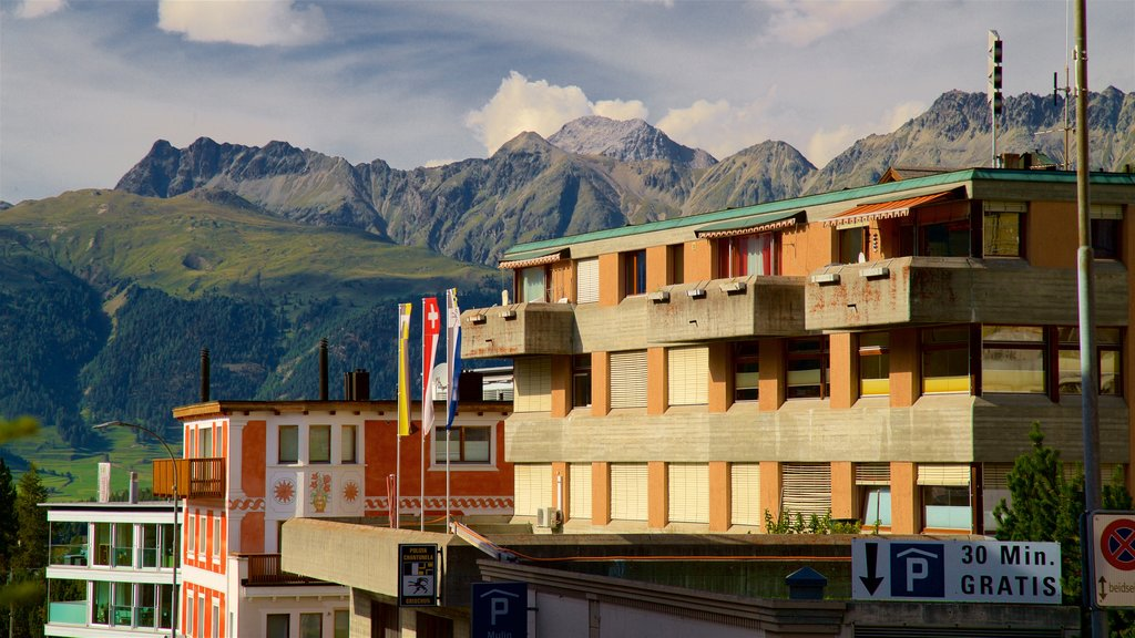Pontresina featuring a small town or village, mountains and landscape views