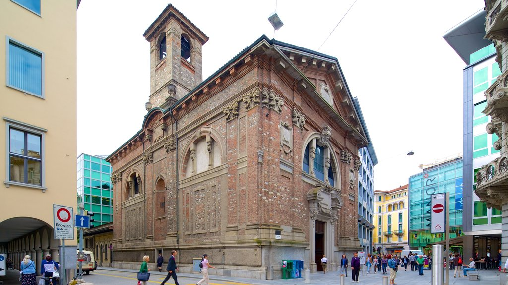 Lugano which includes heritage architecture and a city