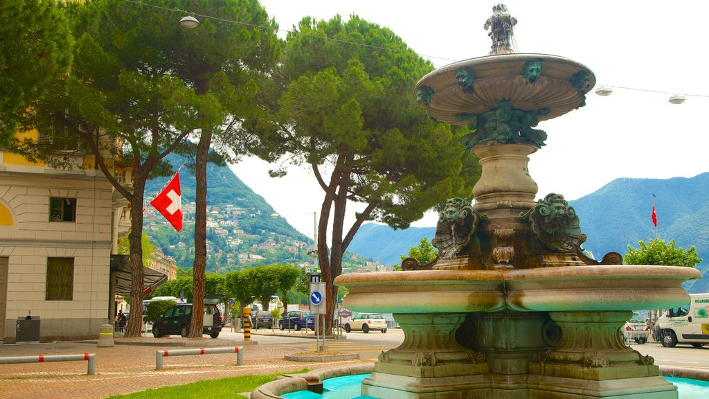 Lugano showing a fountain