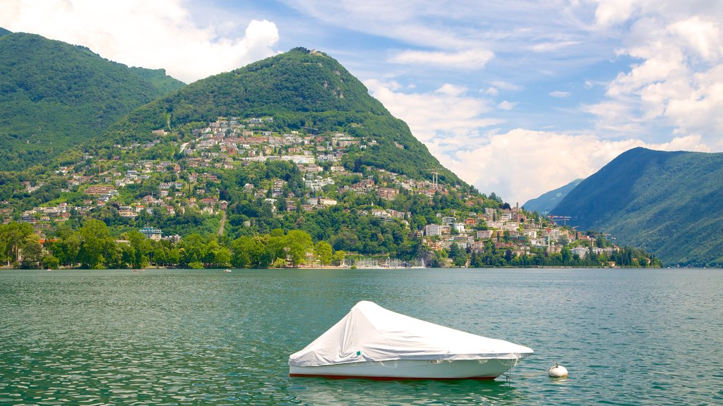 Lugano showing a river or creek, a small town or village and landscape views