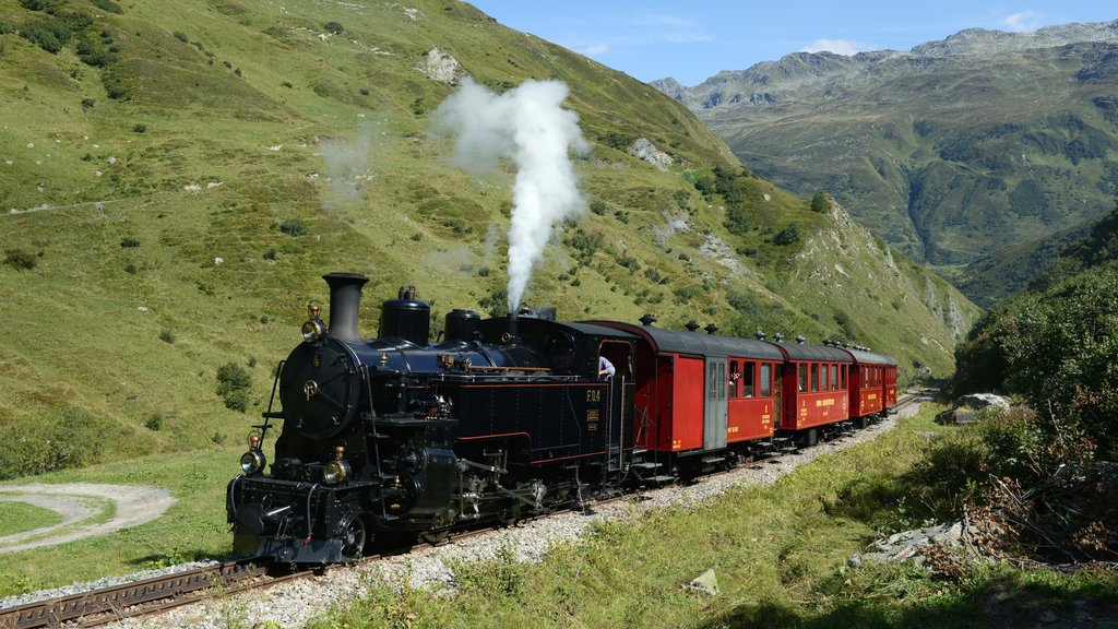 Andermatt featuring railway items, tranquil scenes and heritage elements
