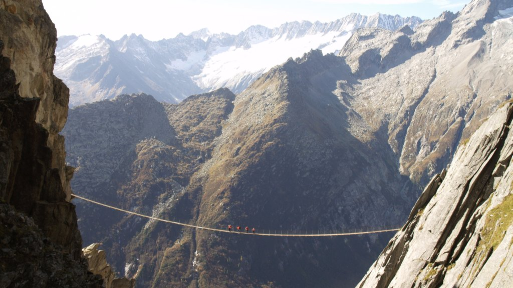 Andermatt which includes mountains, a suspension bridge or treetop walkway and landscape views