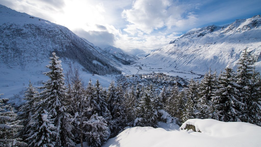 Andermatt which includes landscape views, mountains and snow