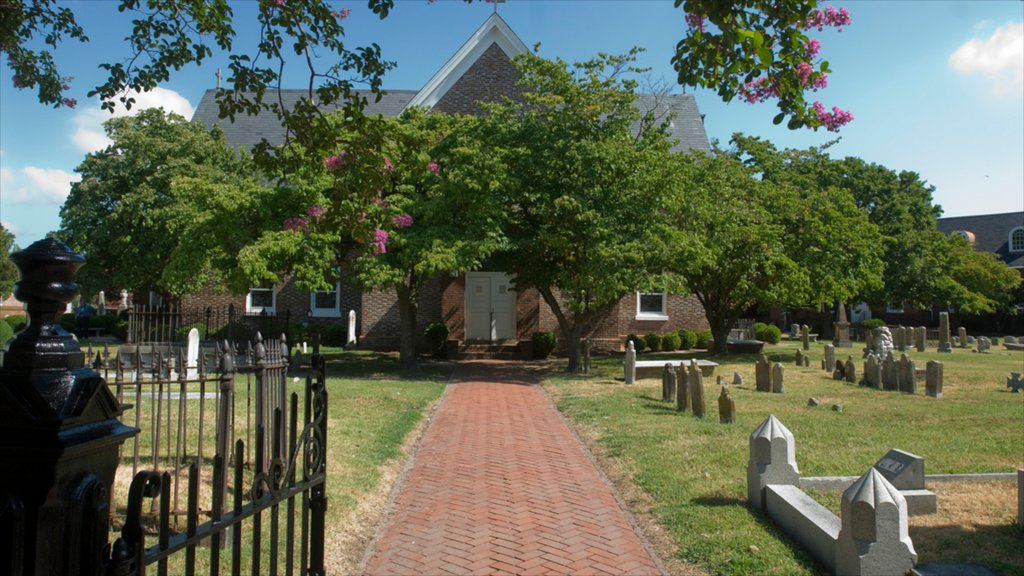 Hampton featuring a cemetery and religious elements