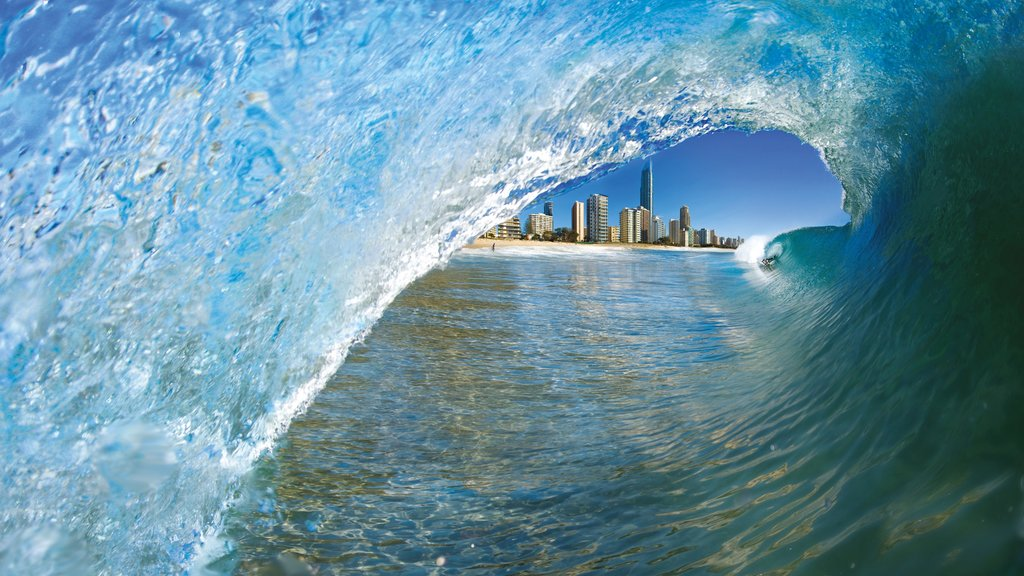 Surfers Paradise Beach showing waves