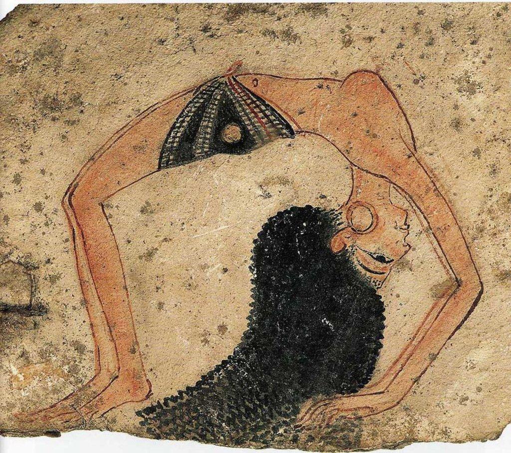 Museo Egizio: Ostrakon raffigurante una ballerina in posizione acrobatica, Nuovo Regno, XIX-XX Dinastia, Deir el Medina - Di sconosciuto (ISBN 978-3-8228-5455-6)  , via Wikimedia Commons