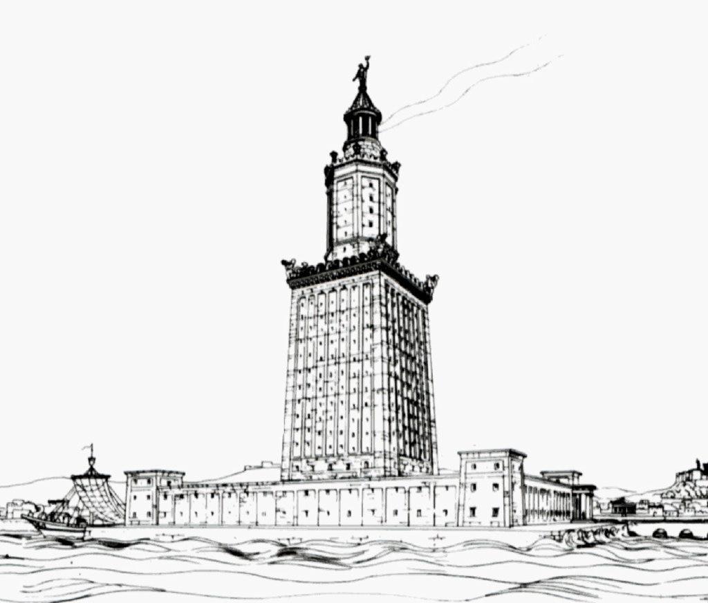 Il Faro di Alessandria secondo una ricostruzione del 1909 dell'archeologo Thiersch - Le 7meraviglie del mondo antico - By Prof. Hermann Thiersch (1874-1939)  , via Wikimedia Commons