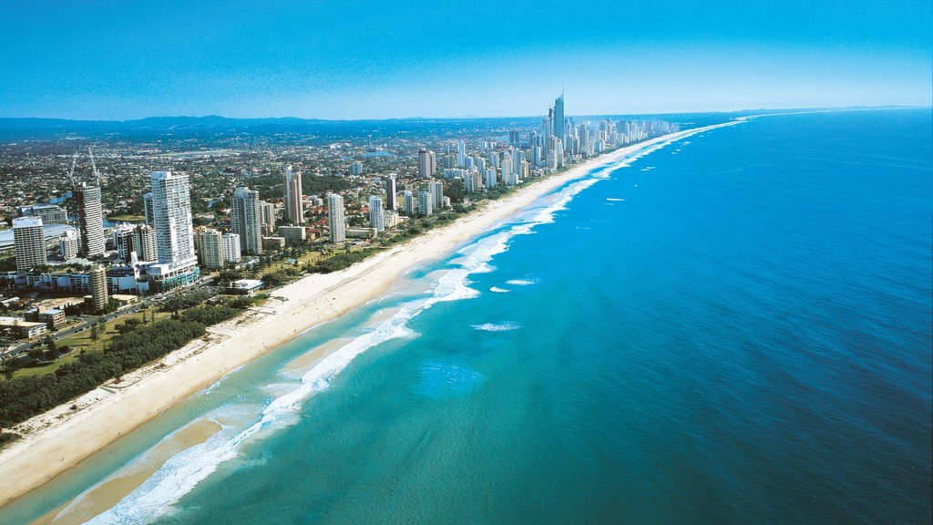 Broadbeach ofreciendo una playa, distrito financiero central y una ciudad