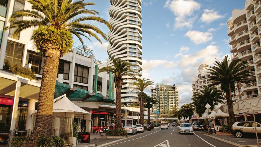 Broadbeach featuring tropical scenes, a city and a skyscraper