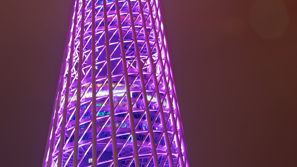 Canton Tower featuring city views, night scenes and a city