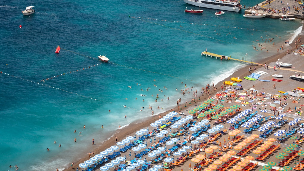 Positano City Centre which includes swimming, general coastal views and a sandy beach