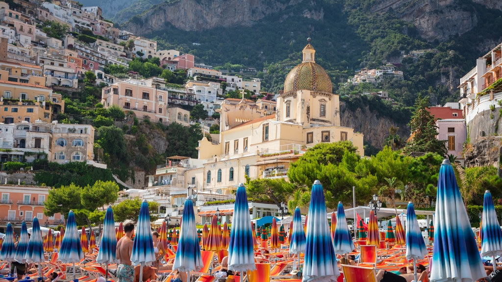 Positano City Centre featuring a church or cathedral, heritage architecture and a coastal town