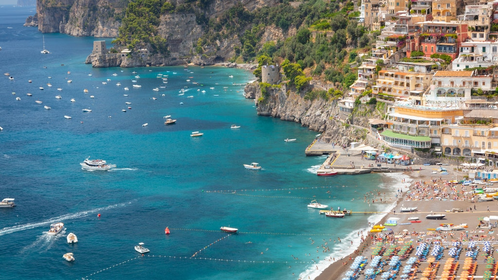 Positano City Centre featuring landscape views, general coastal views and a coastal town