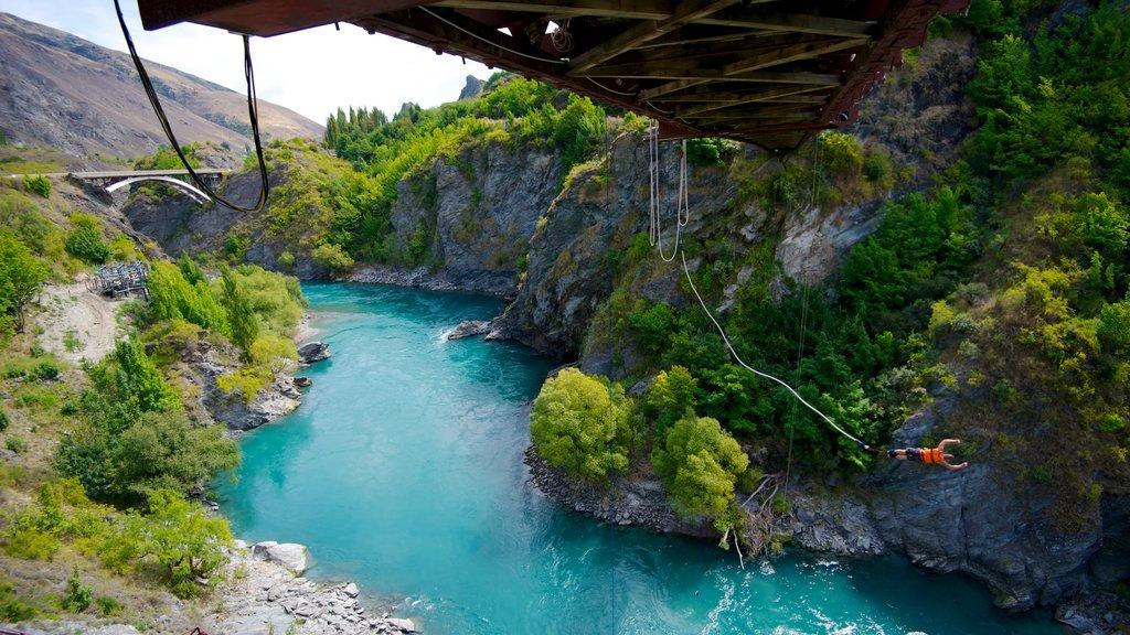 Kawarau Suspension Bridge which includes a garden, a suspension bridge or treetop walkway and bungee jumping