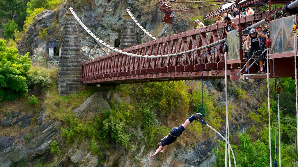 Kawarau Suspension Bridge which includes a sporting event, a bridge and a gorge or canyon
