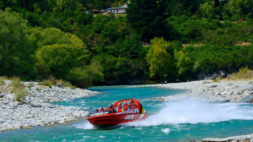 Queenstown showing a river or creek and boating