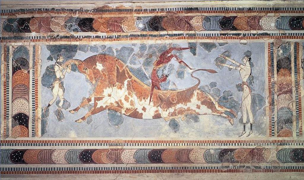 Il particolare di un affresco presso il palazzo di Cnosso. By unknown ancient artist  , via Wikimedia Commons