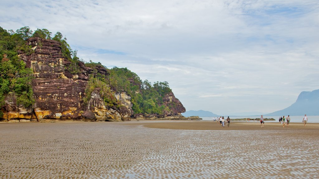 Bako National Park which includes a sandy beach, landscape views and mountains