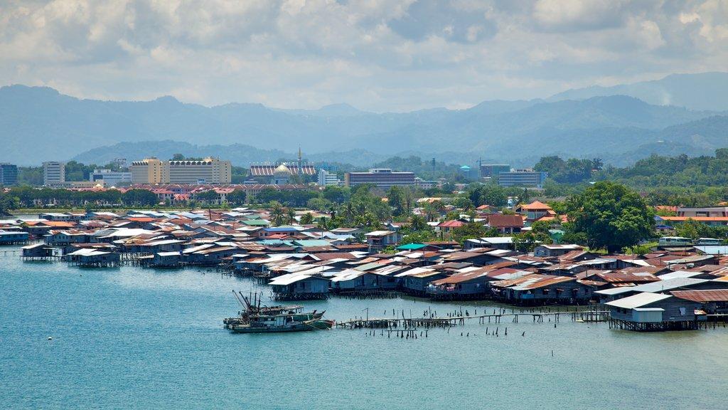 Kota Kinabalu showing a marina, a bay or harbor and a coastal town