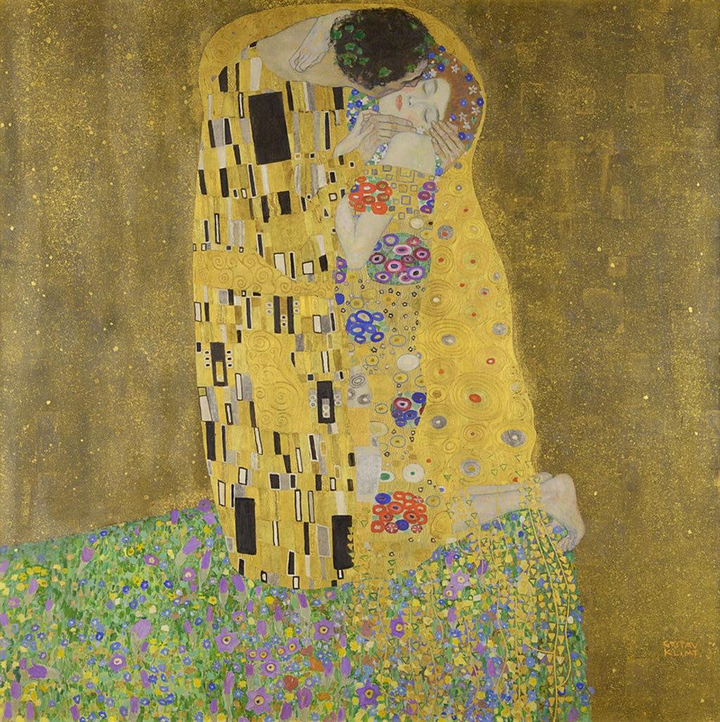 """Il celebre """"Bacio"""" di Klimt è conservato nella Österreichische Galerie del Belvedere, insieme ad altri suoi capolavori. Gustav Klimt  , via Wikimedia Commons"""