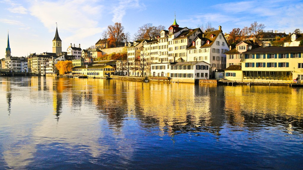 Zurich showing skyline, a river or creek and heritage architecture