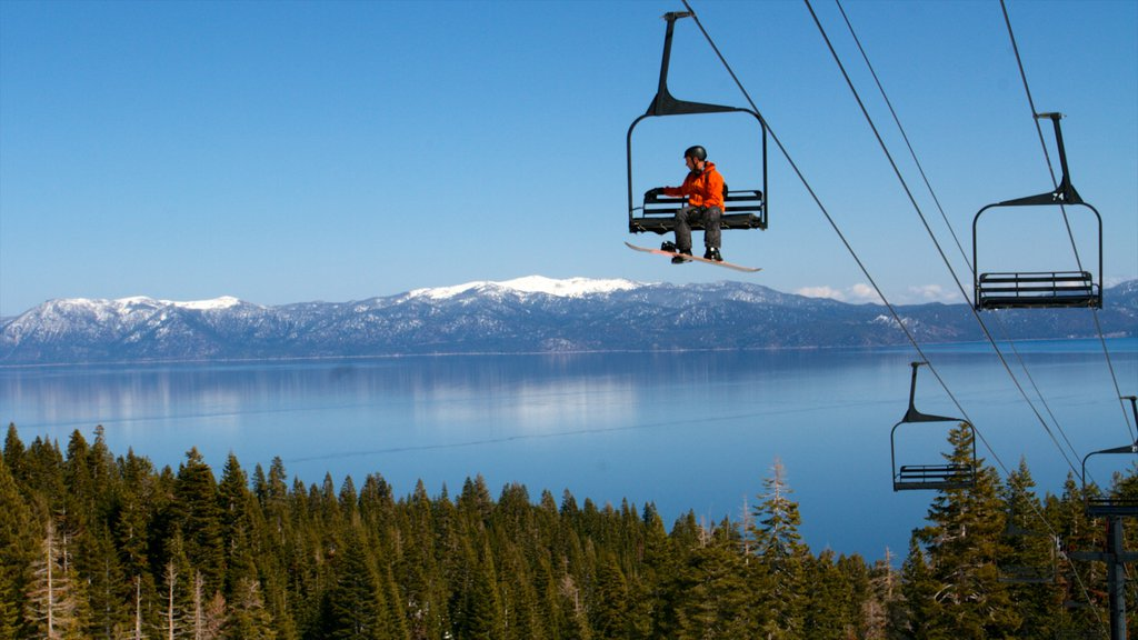 Homewood Mountain Resort showing landscape views, a lake or waterhole and snow skiing