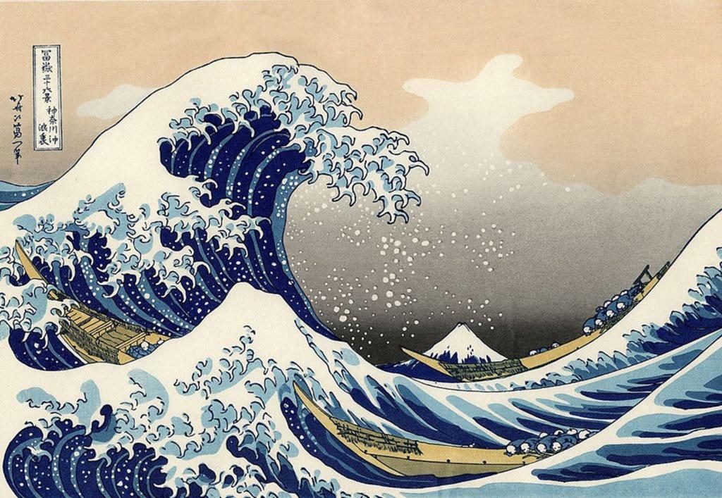 La grande onda fuori Kanagawa di Katsushika Hokusai (葛飾北斎)  , via Wikimedia Commons.