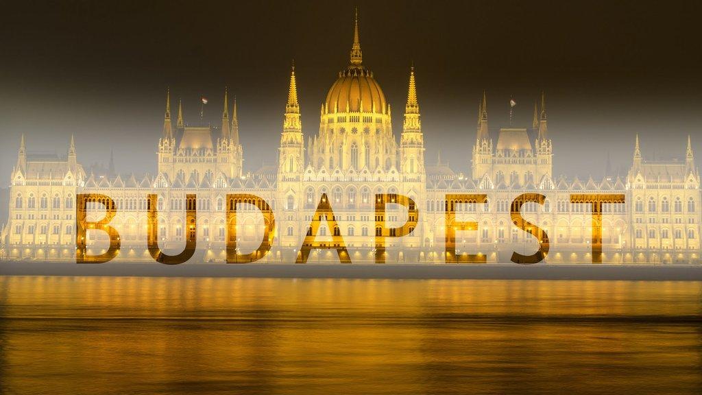 Il Palazzo del Parlamento di notte riflesso sul Danubio con la luce di fuochi d
