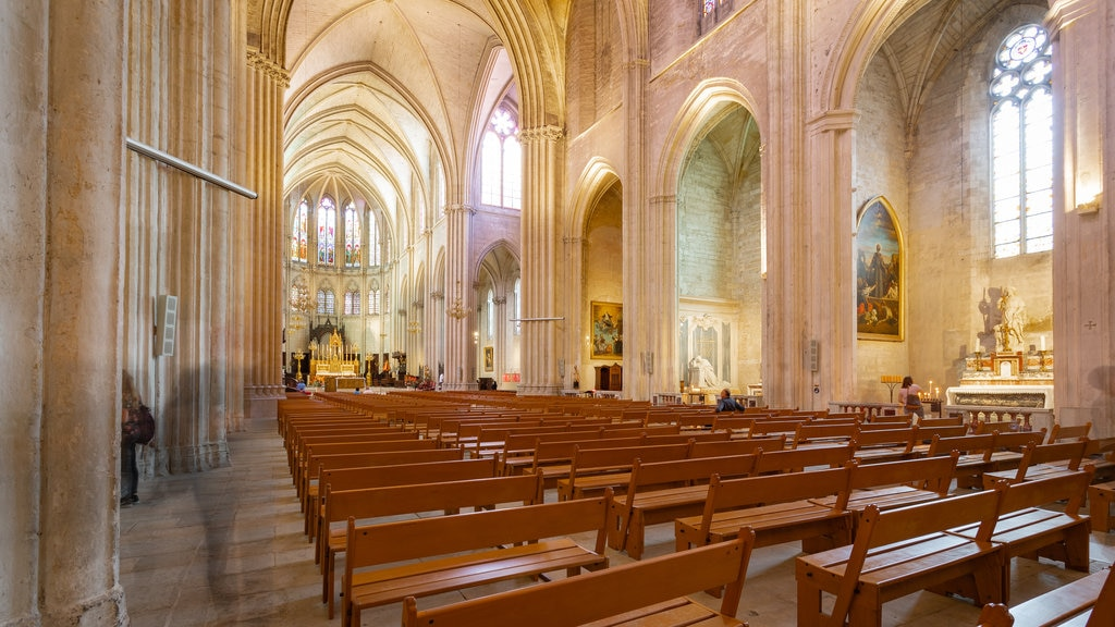 Montpellier Cathedral showing heritage elements, interior views and a church or cathedral