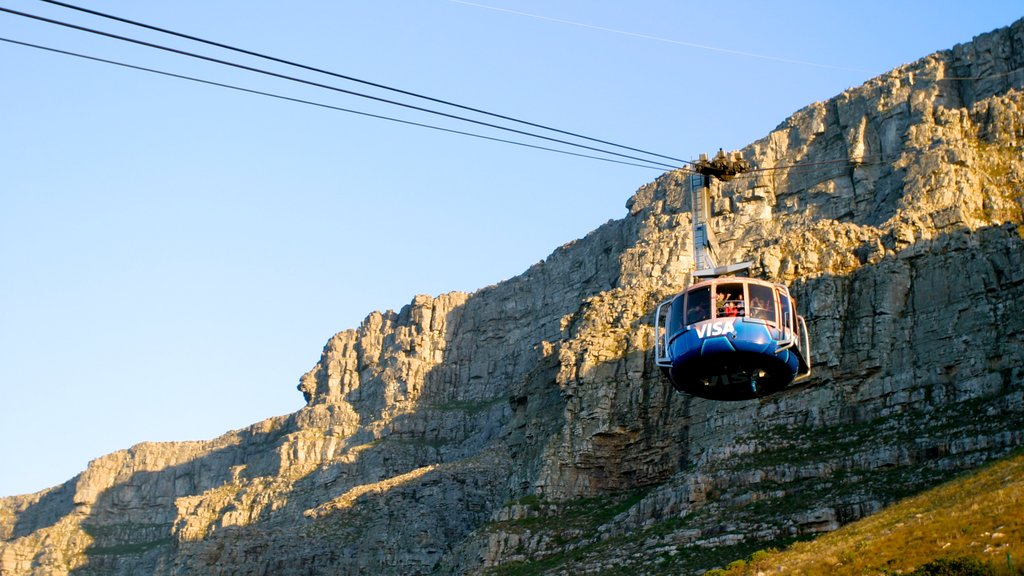 Table Mountain showing a gondola, mountains and landscape views
