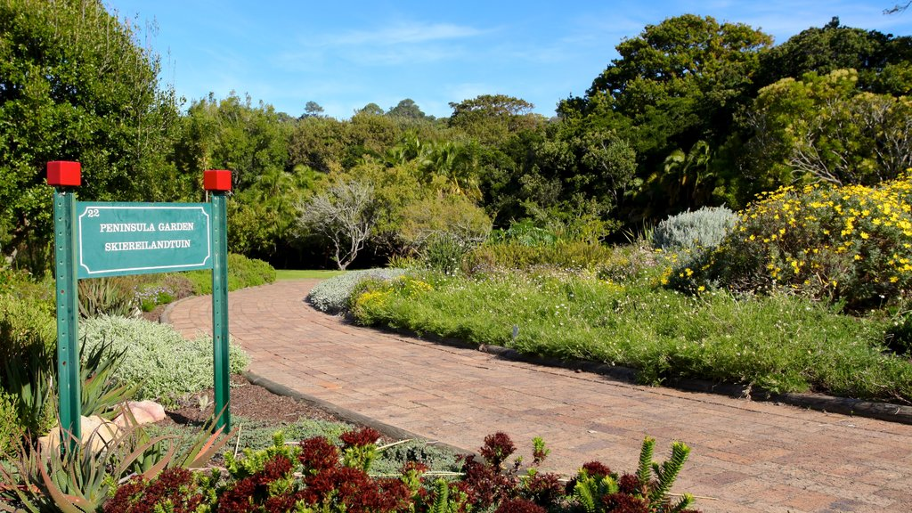 Kirstenbosch National Botanical Gardens which includes a garden, landscape views and signage