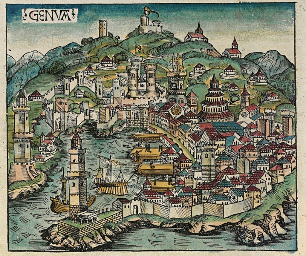 Genova in una xilografia del 1483 di Michael Wohlgemuth da Il Liber Chronicarum di Hartmann Schedel. By Michel Wolgemut, Wilhelm Pleydenwurff (Scan from original book)  , via Wikimedia Commons
