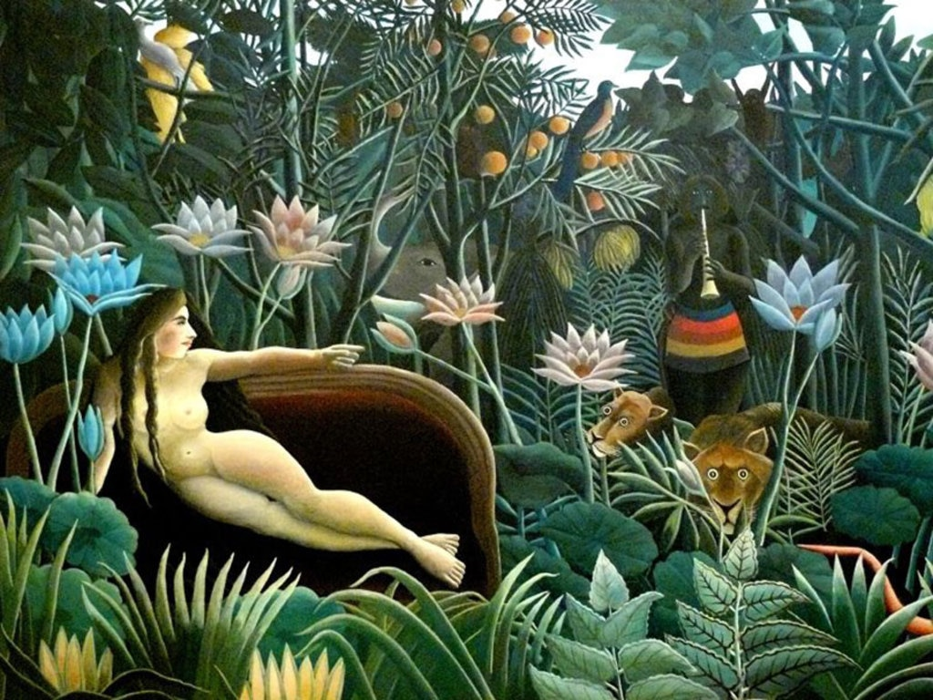 """Henri Rousseau, Le rêve, 1910, New York, MoMA © 2016. Digital image, The Museum of Modern Art, New York/Scala, Florence By Wikipedia Loves Art participant """"trish""""  , via Wikimedia Commons"""