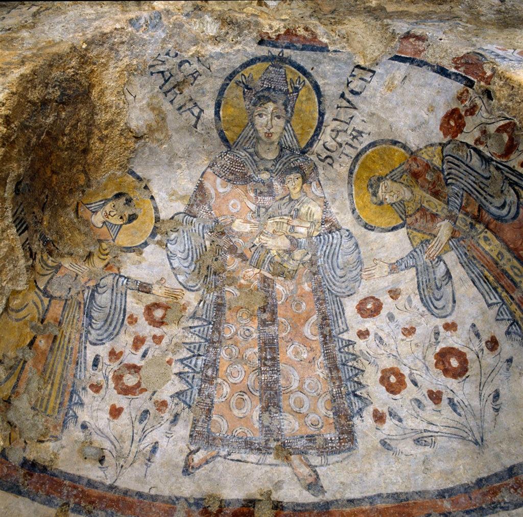 La venerazione della Vergine, particolare di affresco, cripta del Peccato Originale. Foto Fondazione Zetema, Matera.