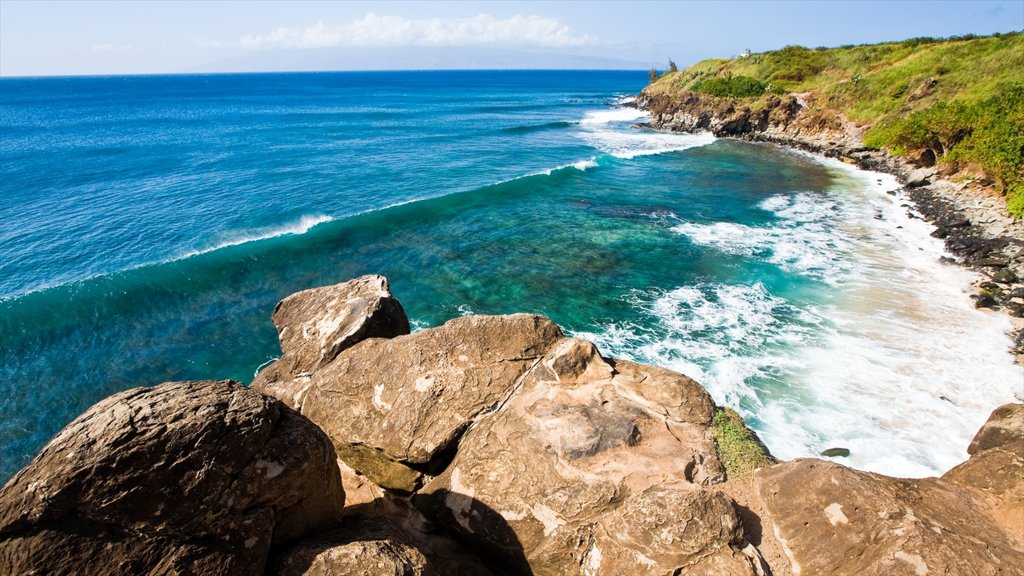 Kapalua Beach which includes island images, rugged coastline and general coastal views