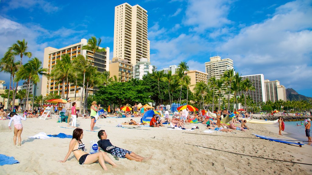 Waikiki Beach which includes a sandy beach, swimming and city views