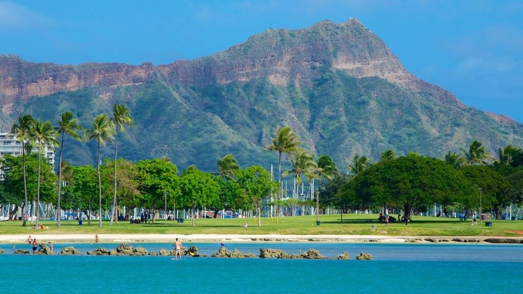 Ala Moana Beach Park showing a park, a beach and tropical scenes