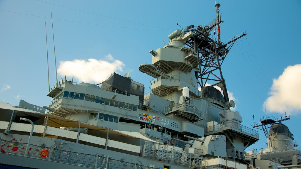 USS Missouri Memorial featuring a marina and military items