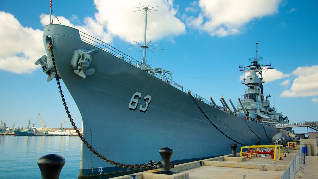 USS Missouri Memorial featuring military items, a bay or harbor and a marina
