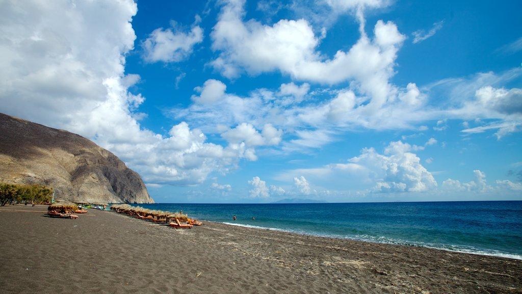Santorini featuring landscape views and a sandy beach