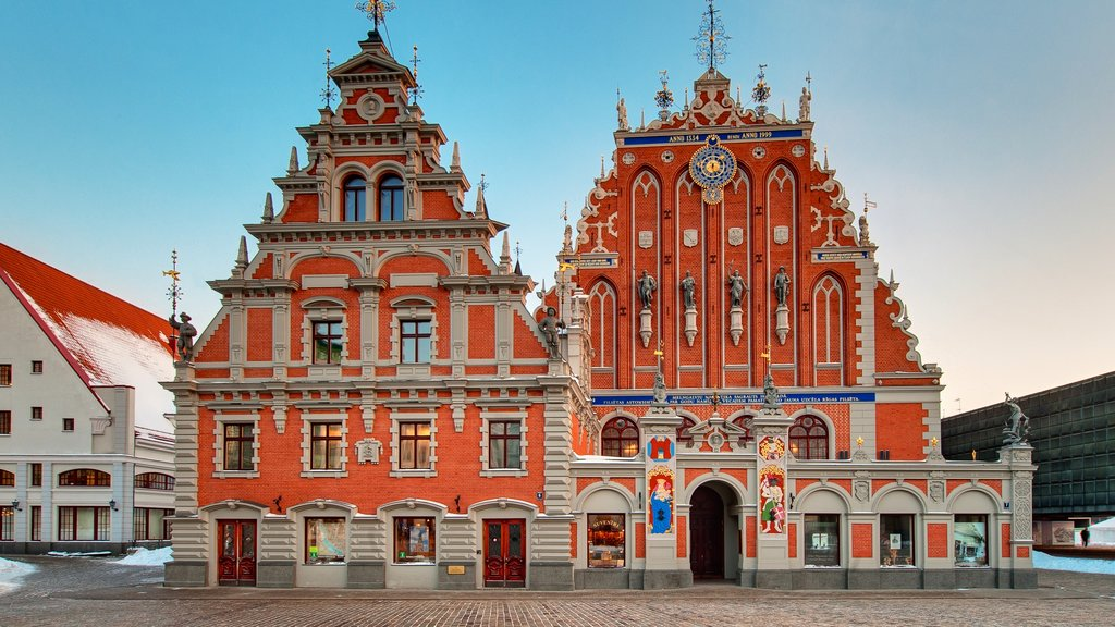 Riga which includes street scenes, a church or cathedral and heritage architecture