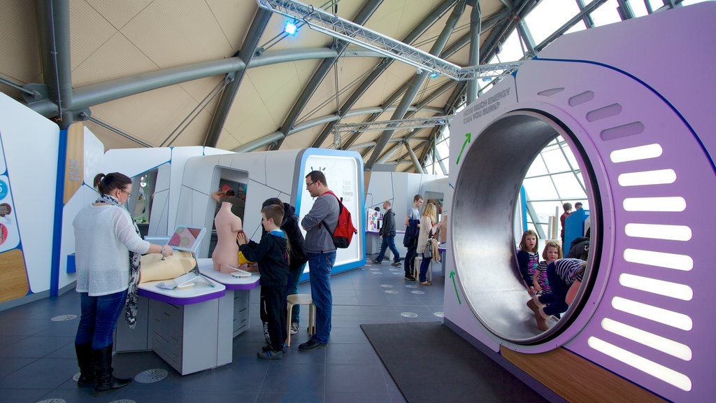 Glasgow Science Centre featuring interior views as well as a large group of people