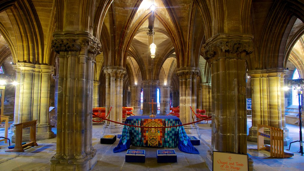 Glasgow Cathedral which includes religious elements, a church or cathedral and interior views